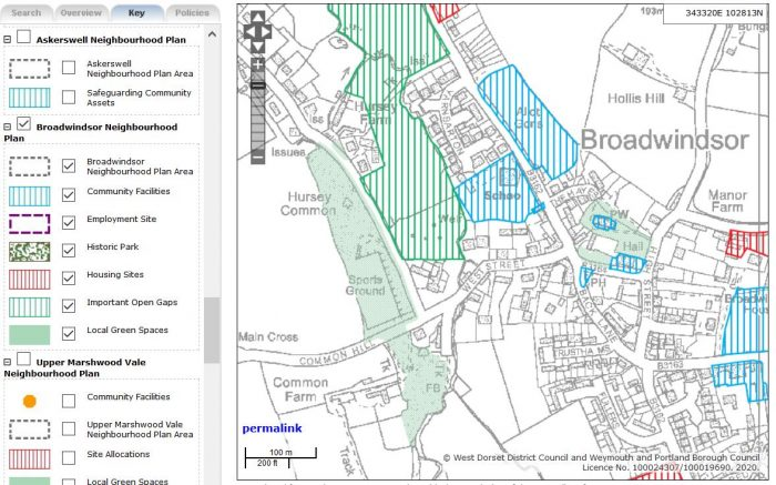 planvu GIS software Broadwindsor Neighbourhood Plan image