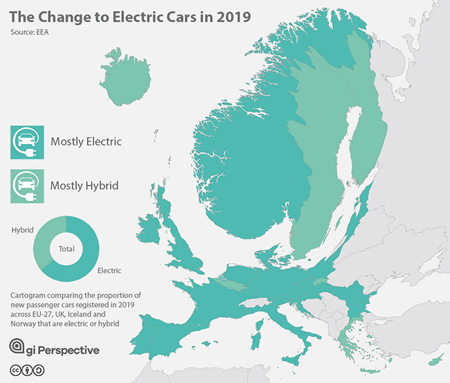 GIS Mapping Data - cartogram of Electric Car industry in Europe